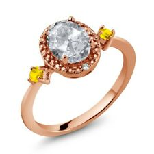1.48 Ct Oval White Topaz Yellow Sapphire 18K Rose Gold Plated Silver Ring