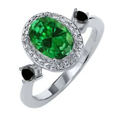 Simulated Emerald and Black Diamond 925 Sterling Silver Ring With Accent Diamond