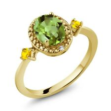 1.51 Ct Oval Green Peridot Yellow Sapphire 18K Yellow Gold Plated Silver Ring