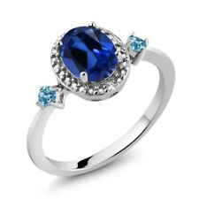 1.77 Ct Oval Blue Simulated Sapphire Swiss Blue Topaz 925 Sterling Silver Ring
