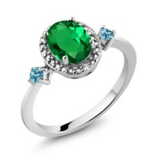 Simulated Emerald Simulated Topaz 925 Sterling Silver Ring With Accent Diamond