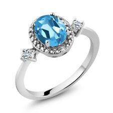 1.47 Ct Swiss Blue and White Topaz 925 Sterling Silver Ring With Accent Diamond