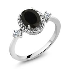 1.42 Ct Oval Black Onyx White Topaz 925 Sterling Silver Ring