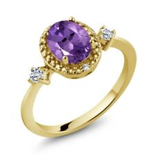 1.17 Ct Oval Purple Amethyst White Topaz 18K Yellow Gold Plated Silver Ring