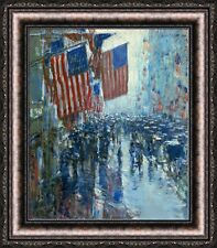 "Childe Hassam Rainy Day Fifth Avenue Framed Canvas Print 23.5""x27"" (V11-06)"