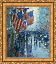 "Childe Hassam Rainy Day Fifth Avenue Framed Canvas Giclee Print 27""x31"" (V11-07)"