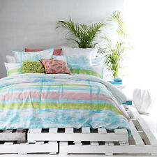 Palms Aqua 3 or 5 Pce Super King Size Quilt / Doona Cover Set Logan & Mason New