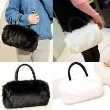 Women Faux Fur Clutch Purse Mini Handbag Lady Shoulder Bag Satchel Winter 6LK2