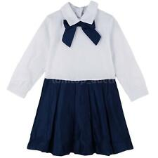 Kids Girl's Bowknot Long Sleeve Dress Turn-Down Collar One-piece Dress 2-9Y 8KV2