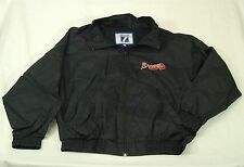 Atlanta Braves Vintage Logo 7 Zip Up Windbreaker Jacket Men's Size Large Black