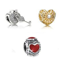 S925 Sterling Silver Bead Heart Lock Key CZ Fit 3mm European Charms Bracelet