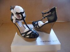 Madden Girl Women's Cage Black Strappy Wedges Shoes