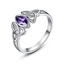 Lovers Jewelry Gift 18K White Gold Filled Amethyst Gemstone Ring Size 6 7 8 9 10