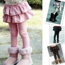 Cute Kids Girls Autumn Winter Gray/Coffee/Pink Leggings With Tutu Skirt 3-8Years