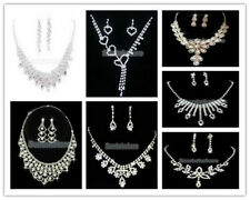 Sparkly Wedding Bridal Jewelry Crystal Rhinestone Crystal Necklace Earring Set