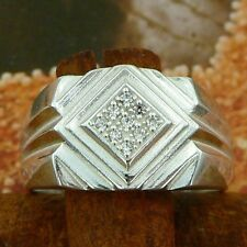 STERLING SILVER SQUARE TOP RING WITH STONES SOLID.925 /NEW JEWELERY SIZE J - U