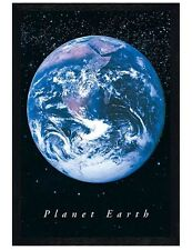 Black Wooden Framed Planet Earth From Space Maxi Poster 61x91.5cm