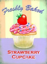 New Freshly Baked Strawberry Cupcake Metal Tin Sign