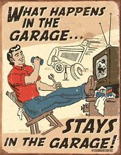 New Its A Man's World What Happens In The Garage... Metal Tin Sign