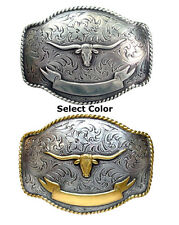 WESTERN TEXAS LONGHORN STEER BULL BANNER TROPHY FOR LEATHER COWBOY BELT BUCKLE