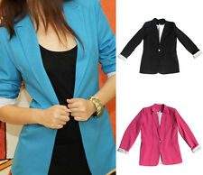 Women Vintage Solid Candy Color Slim Fit Suit Jacket Blazer Coat Tops Outwear