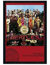 The Beatles Black Wooden Framed Sgt Pepper's Lonely Hearts Club Poster 61x91.5cm