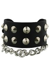 2 Row Conical Chain Leather Bracelet Black Wristband