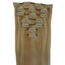"15""18""20""22"" CLIP IN REMY REAL HUMAN HAIR EXTENSIONS 7PCS #18/613 long straight"