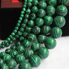 16'' Strand Bright Malachite Gemstone Round Loose Spacer Bead 4/6/8/10mm Finding