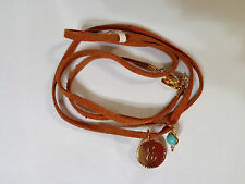 ACCENTUALITY INITIAL E, C WRAP BRACELET 18K GOLD PLATED W/TURQUOISE GEM STONES
