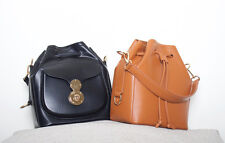 PU Leather Drawstring Bucket Shoulder Bag