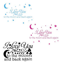 I Love You to the Moon Back Again Star Heart Art Words Quotes Vinyl Wall Decals