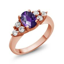 1.18 Ct Oval Checkerboard Purple Amethyst 18K Rose Gold Ring