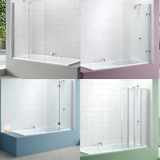 MERLYN BATH SCREEN SHOWER GLASS CURVED SQUARE FOLDING FOLD PANEL CHROME BATHROOM