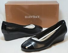 ELLEN TRACY Women's Cancan Wedge - Black Lthr - SZ 6.5,7,8 Only NIB - MSRP $79