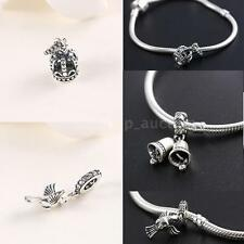 European Charm Beads Crown/Bird/Bell Dangle Fit 925 Sterling Silver Bracelet