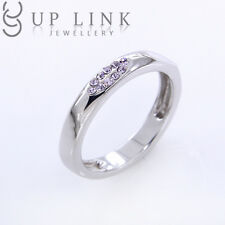 925 Sterling Silver Fashion Band Engagement Ring Use Colorful Swarovski Crystal