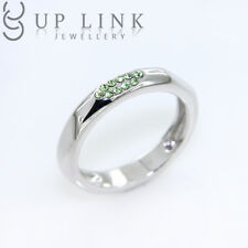 Green Swarovski Crystal Ring Bridal Engagement Wedding 925 Sterling Silver Gift