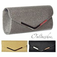 WOMENS LADIES SPARKLY EVENING CLUTCH PARTY PROM STRAP HANDBAG GOLD SILVER BLACK