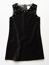 Luli & Me Pearl Trimmed Girls Black Velvet Holiday & Party Dress 7 & 8 $74 NWT