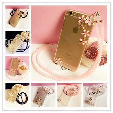 NEW CUTE Bling Rhinestone Diamond Case with Pearl Lanyard Neck Strap for iPhone