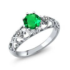 0.89 Ct Round Green Simulated Emerald White Diamond 925 Sterling Silver Ring