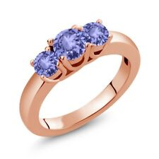 1.06 Ct Round Blue Tanzanite 18K Rose Gold Plated Silver Ring