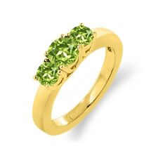 1.10 Ct Round Green Peridot 18K Yellow Gold Ring