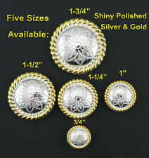 "CONCHOS LOT OF 6 BRIGHT SILVER & GOLD ROUND ROPE EDGE FLORAL WESTERN 3/4""-1 3/4"""