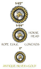 "CONCHOS LOT OF 6 ANTIQUE SILVER & GOLD ROPE EDGE HORSE HEAD CRAFT 1""- 1 1/2"" NEW"