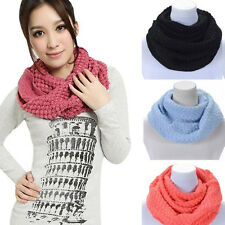 Women Winter Warm Infinity Scarf Long 2 Circle Cable Knit Neck Warps Scarf Shawl