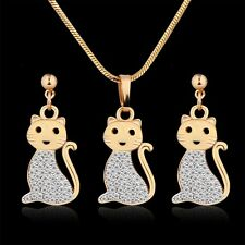18K Multi-Tone Gold Simulated Diamond Twincking cat shape earring&pendant 18''