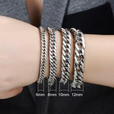 Heavy CURB Link Silver Tone 316L Stainless Steel Bracelet Mens Chain Jewelry
