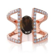 1.86 Ct Oval Brown Smoky Quartz 18K Rose Gold Plated Silver Ring